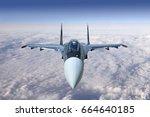 modern military jet fighter... | Shutterstock . vector #664640185