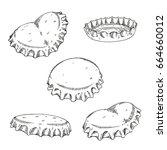 set of bottle caps  doodle... | Shutterstock .eps vector #664660012