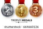 champion medals set vector.... | Shutterstock .eps vector #664660126