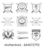 set of black and white baseball ... | Shutterstock . vector #664672792
