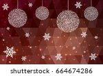 dark red vector low poly... | Shutterstock .eps vector #664674286