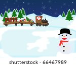 Background with snowman and Santa Claus in a toy train with gifts and 2011 Year - stock vector
