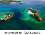 aerial view of tropical islands ... | Shutterstock . vector #664688698