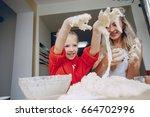 little beautiful girl with... | Shutterstock . vector #664702996