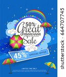 illustration  sale banner  sale ... | Shutterstock .eps vector #664707745