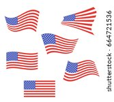 set of american flags. us flags ... | Shutterstock .eps vector #664721536