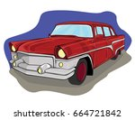 vector illustration. red car.... | Shutterstock .eps vector #664721842