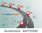 design template  road map... | Shutterstock .eps vector #664723282
