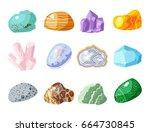 semi precious gemstones stones... | Shutterstock .eps vector #664730845