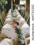 decorated banquet table with...   Shutterstock . vector #664731202