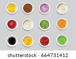 bowls dip bowl sauces gravy... | Shutterstock .eps vector #664731412