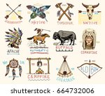 set of engraved vintage  hand... | Shutterstock .eps vector #664732006