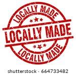 locally made round red grunge... | Shutterstock .eps vector #664733482
