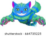 cheshire cat jumping and... | Shutterstock .eps vector #664735225