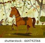 pet animal horse on jungle...   Shutterstock .eps vector #664742566