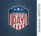 happy independence day usa label   Shutterstock .eps vector #664742716