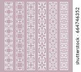 vector set of line borders with ... | Shutterstock .eps vector #664746352