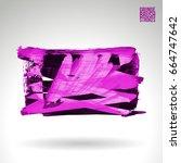 purple brush stroke and texture.... | Shutterstock .eps vector #664747642
