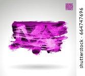 purple brush stroke and texture.... | Shutterstock .eps vector #664747696