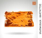 orange brush stroke and texture.... | Shutterstock .eps vector #664747732
