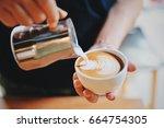 coffee latte art | Shutterstock . vector #664754305