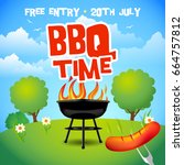 barbecue summer party poster.... | Shutterstock .eps vector #664757812