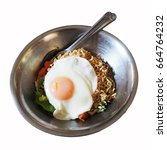 Small photo of Instant noodles and egg in stainless steel bowl, Isolated bowl