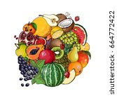 a circle of fruits. fresh food. ... | Shutterstock .eps vector #664772422
