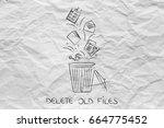 delete all files concept ... | Shutterstock . vector #664775452