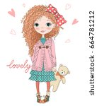 hand drawn beautiful  cute ... | Shutterstock .eps vector #664781212