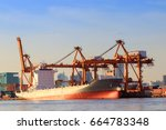 logistics and transportation of ... | Shutterstock . vector #664783348