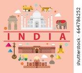 india flat illustration  vector ... | Shutterstock .eps vector #664786252