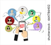 message icon on smartphone...   Shutterstock . vector #664786402