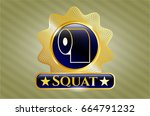 golden emblem or badge with... | Shutterstock .eps vector #664791232