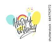 happy birthday card vector...   Shutterstock .eps vector #664792972