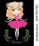 cute girl character design on...   Shutterstock .eps vector #664796782