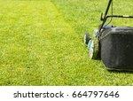 mowing lawns  lawn mower on... | Shutterstock . vector #664797646