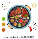 sausages  steaks  fish  slices... | Shutterstock .eps vector #664803106