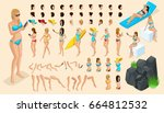 large isometric set of gestures ... | Shutterstock .eps vector #664812532