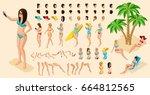 trendy isometric set of...   Shutterstock .eps vector #664812565