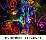 abstract fractal background 3d... | Shutterstock . vector #664820245