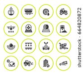 set round icons of agriculture... | Shutterstock . vector #664820872