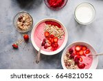 acai bowl of wild berry and... | Shutterstock . vector #664821052