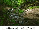 kazu grava waterfalls in... | Shutterstock . vector #664823638