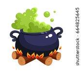 halloween caldron  cauldron... | Shutterstock .eps vector #664825645