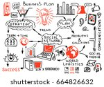 business doodles sketch set  ... | Shutterstock .eps vector #664826632
