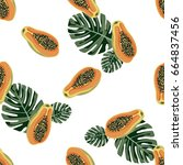tropical seamless pattern with... | Shutterstock .eps vector #664837456