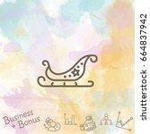 web line icon. santa's sleigh | Shutterstock .eps vector #664837942