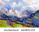 sunny day in the mountains.... | Shutterstock . vector #664841152