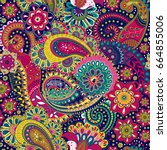 paisley floral seamless pattern.... | Shutterstock . vector #664855006